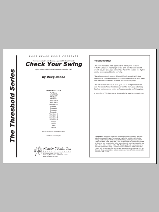 Check Your Swing (COMPLETE) sheet music for jazz band by Beach. Score Image Preview.