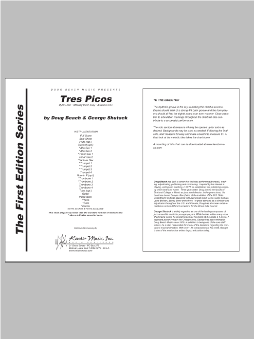 Tres Picos (COMPLETE) sheet music for jazz band by Beach, Shutack. Score Image Preview.