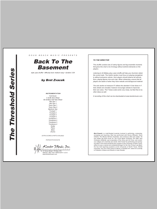 Back To The Basement (COMPLETE) sheet music for jazz band by Zvacek. Score Image Preview.