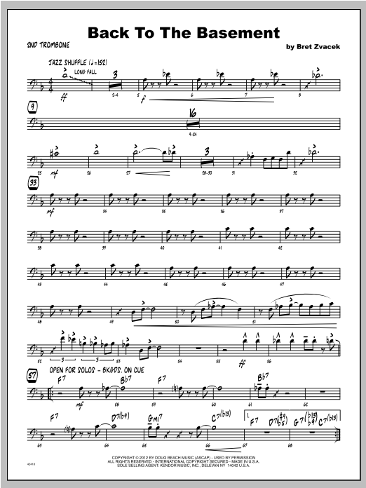 Back To The Basement - Trombone 2 Sheet Music