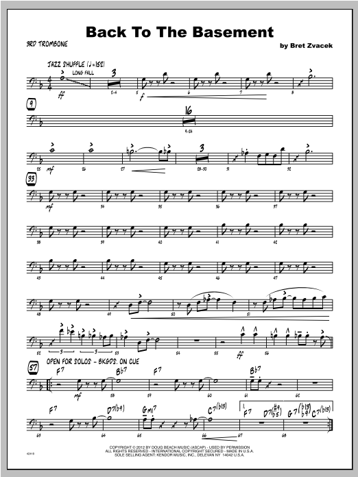 Back To The Basement - Trombone 3 Sheet Music