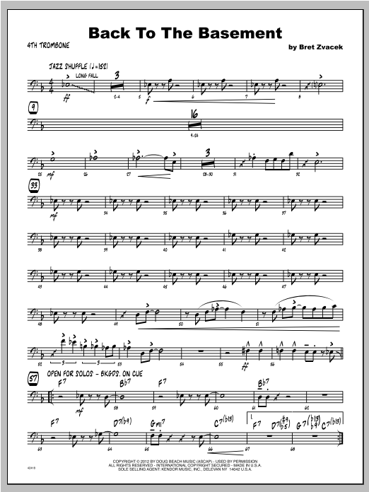 Back To The Basement - Trombone 4 Sheet Music