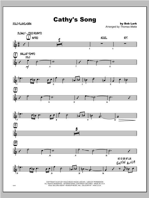 Cathy's Song - Solo Sheet Partituras Digitales