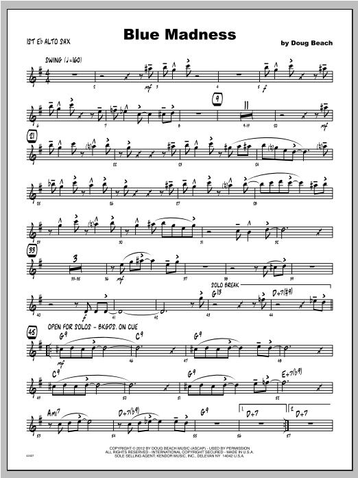 Blue Madness - Alto Sax 1 Sheet Music