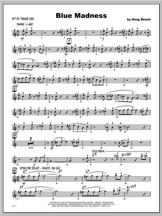 Blue Madness - Tenor Sax 1 Sheet Music