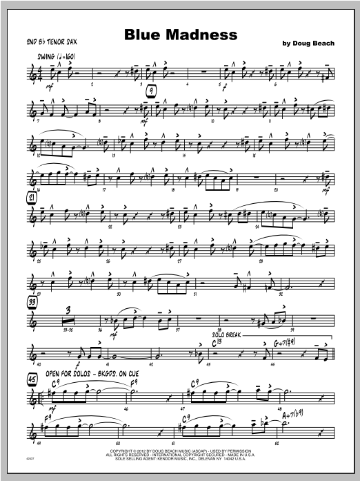 Blue Madness - Tenor Sax 2 Sheet Music
