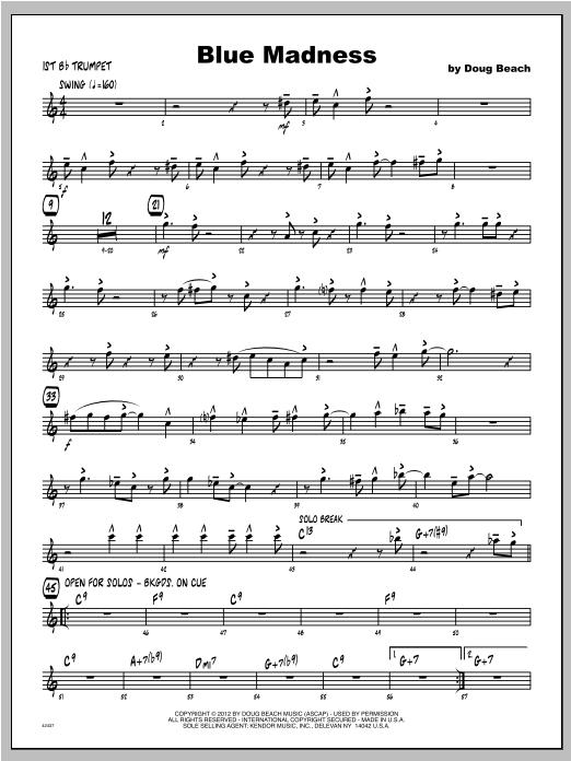 Blue Madness - Trumpet 1 Sheet Music