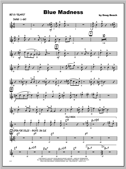 Blue Madness - Trumpet 3 Sheet Music
