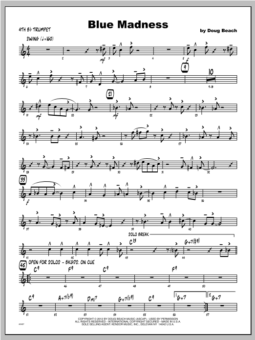 Blue Madness - Trumpet 4 Sheet Music