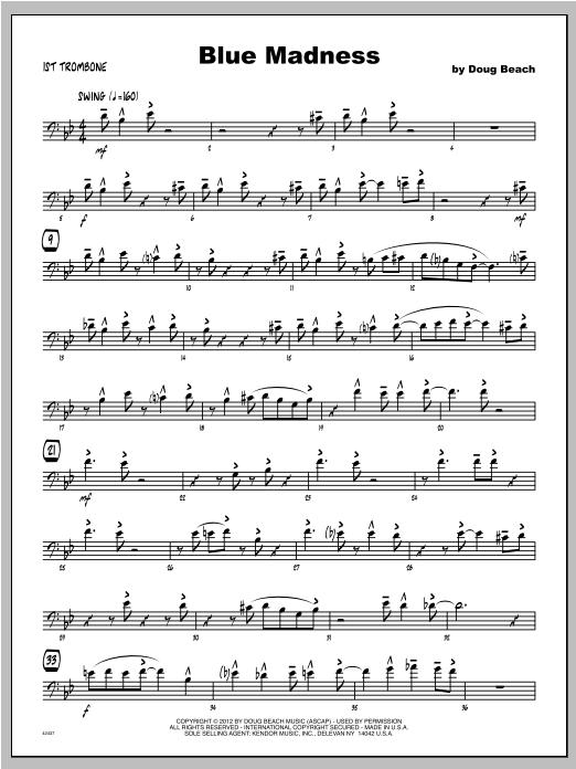 Blue Madness - Trombone 1 Sheet Music