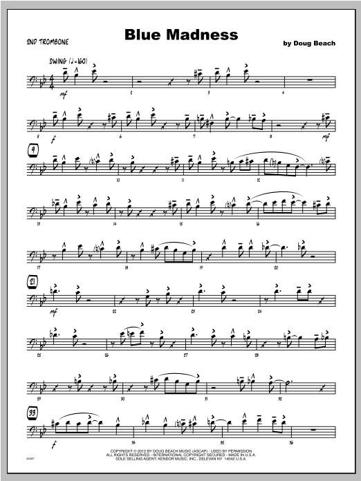 Blue Madness - Trombone 2 Sheet Music