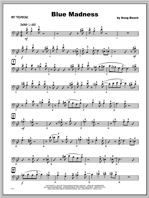Blue Madness - Trombone 3 Sheet Music