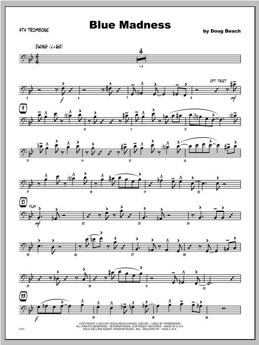 Blue Madness - Trombone 4 Sheet Music