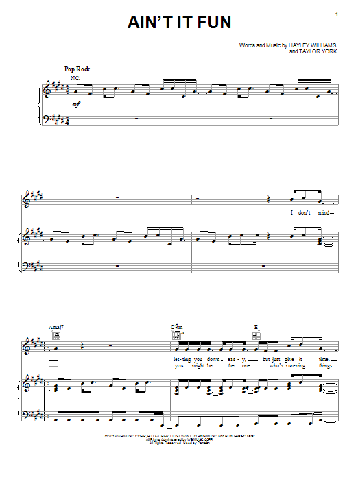 Ain't It Fun Sheet Music