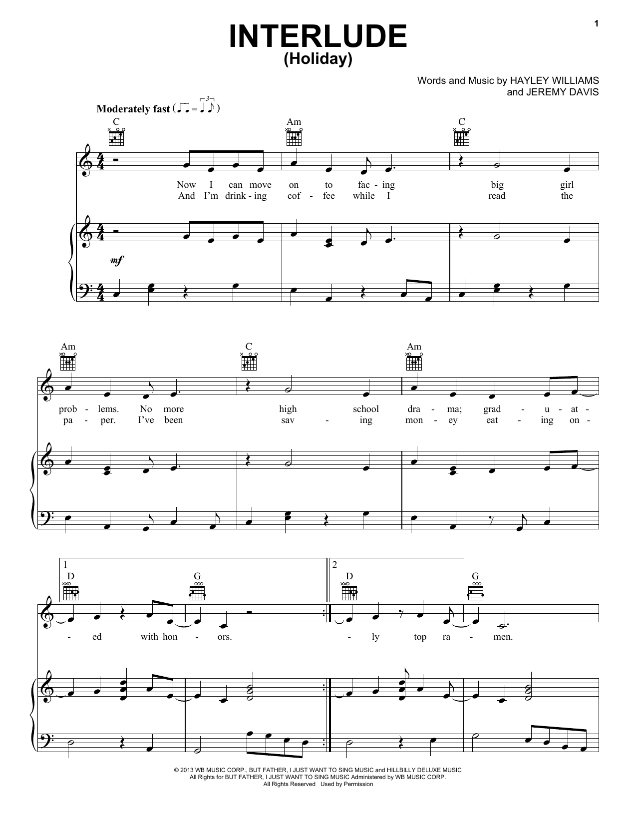 Interlude Holiday Sheet Music By Paramore Piano Vocal Guitar