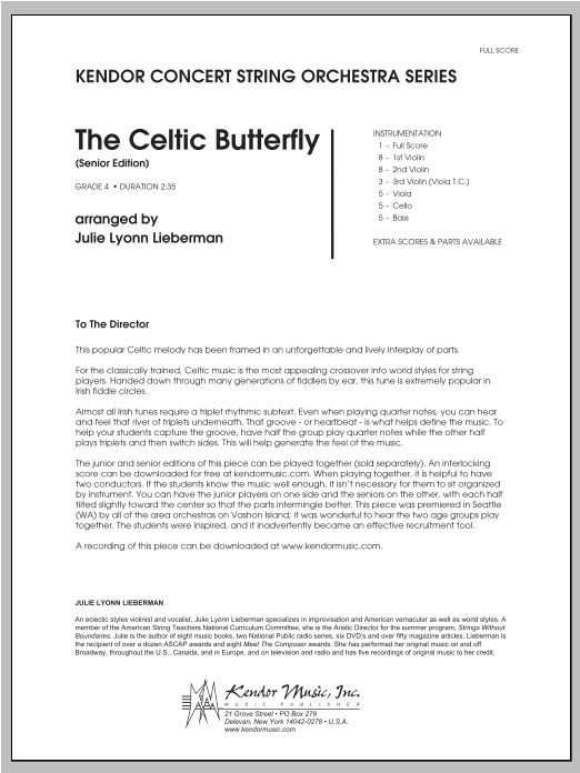 Celtic Butterfly, The (Senior Edition) (COMPLETE) sheet music for orchestra by Julie Lyonn Lieberman. Score Image Preview.