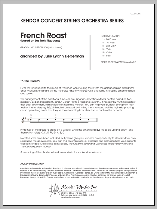 French Roast (COMPLETE) sheet music for orchestra by Julie Lyonn Lieberman. Score Image Preview.