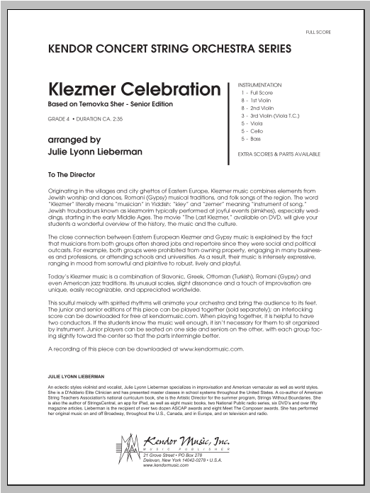 Klezmer Celebration (based on Ternovka Sher) (Senior Edition) (COMPLETE) sheet music for orchestra by Julie Lyonn Lieberman. Score Image Preview.