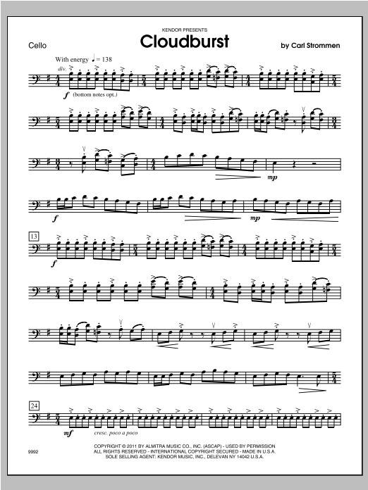 Cloudburst - Cello Sheet Music