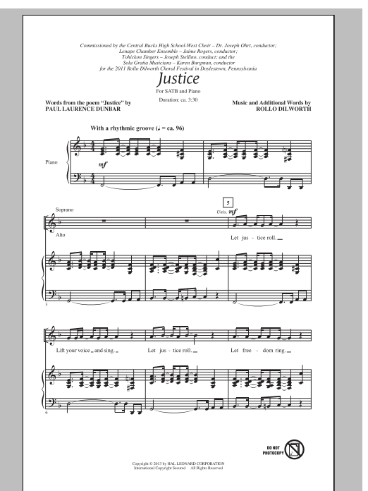 Partition chorale Justice de Rollo Dilworth - SATB
