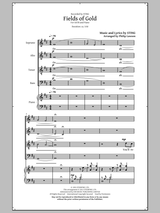 Partition chorale Fields Of Gold de Sting - SATB