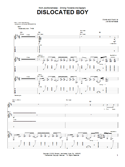 Dislocated Boy (Guitar Tab)