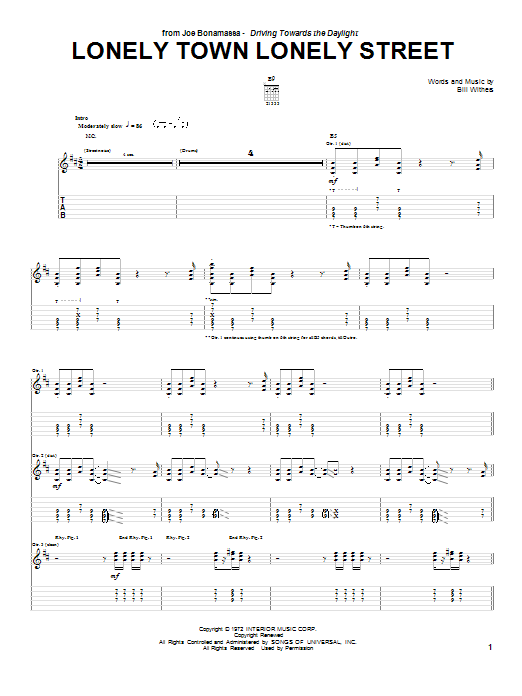 Lonely Town Lonely Street Sheet Music