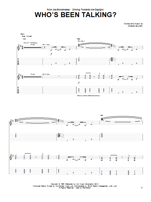 Who's Been Talking (Guitar Tab)