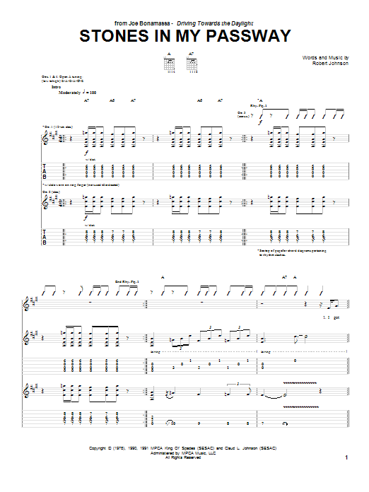 Tablature guitare Stones In My Passway de Joe Bonamassa - Tablature Guitare