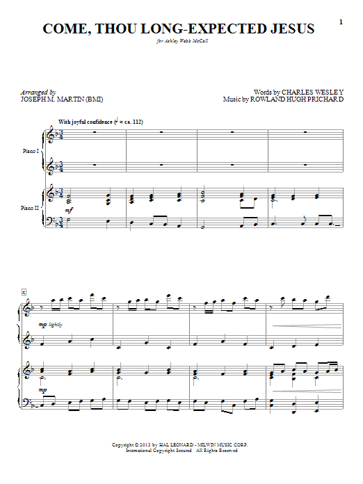 Partition piano Come, Thou Long-Expected Jesus de Joseph M. Martin - 4 mains
