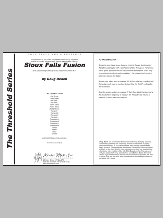 Sioux Falls Fusion (COMPLETE) sheet music for jazz band by Beach. Score Image Preview.