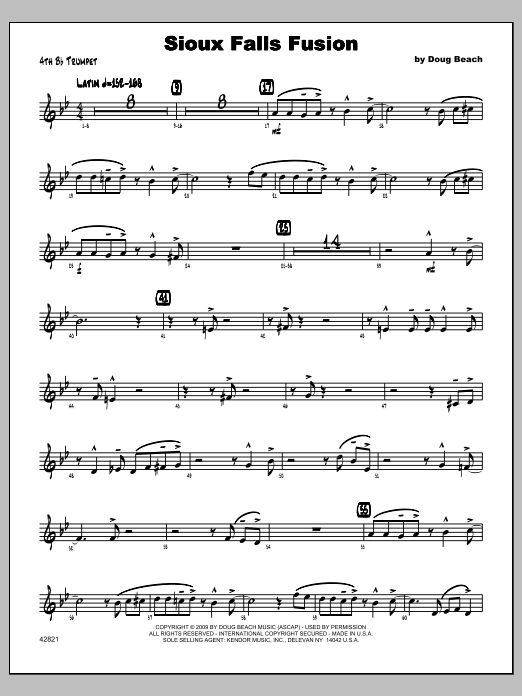Sioux Falls Fusion - Trumpet 4 Sheet Music