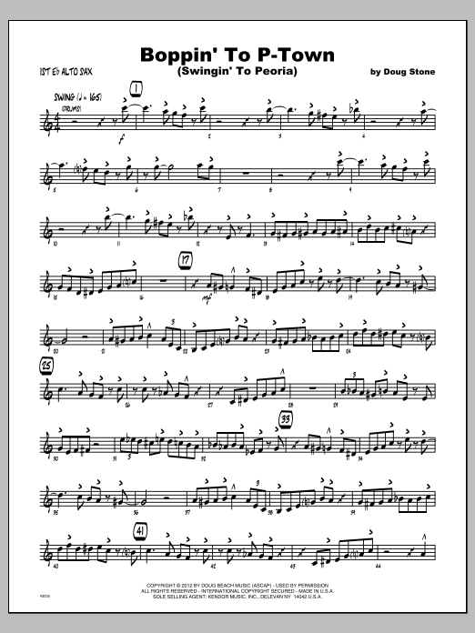 Boppin' To P-Town (Swingin' To Peoria) - Alto Sax 1 Sheet Music