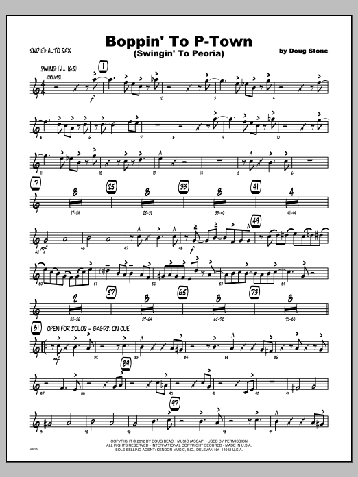 Boppin' To P-Town (Swingin' To Peoria) - Alto Sax 2 Sheet Music