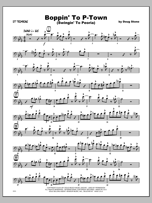 Boppin' To P-Town (Swingin' To Peoria) - Trombone 1 Sheet Music