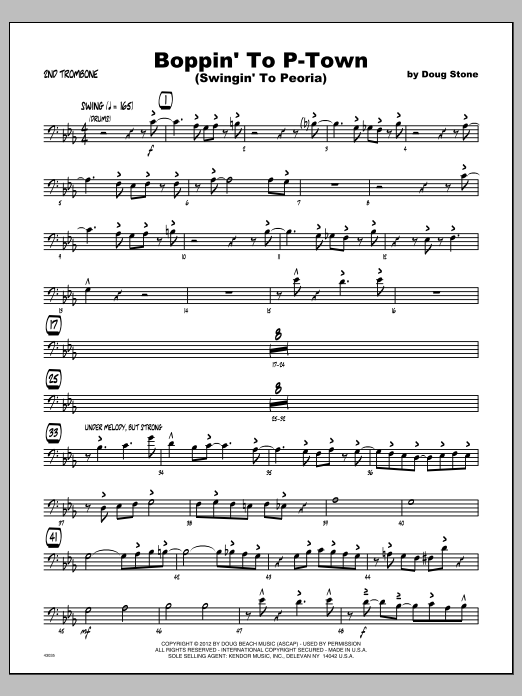 Boppin' To P-Town (Swingin' To Peoria) - Trombone 2 Partition Digitale