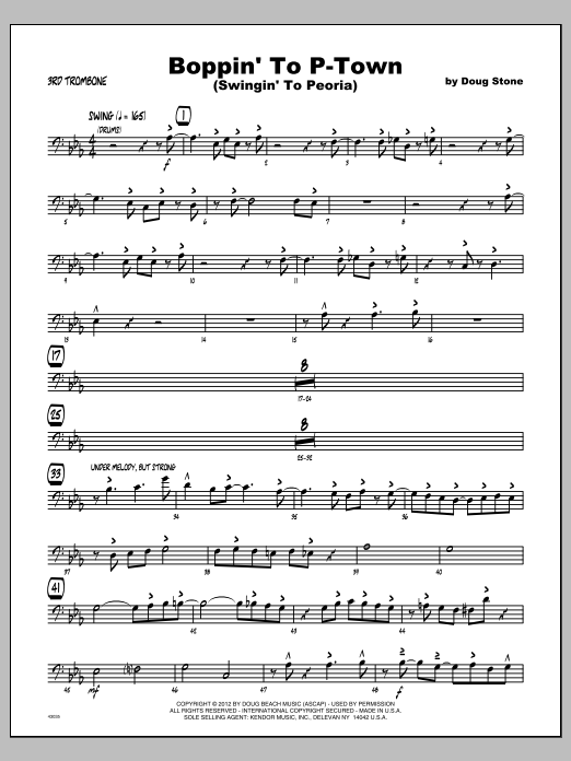 Boppin' To P-Town (Swingin' To Peoria) - Trombone 3 Sheet Music