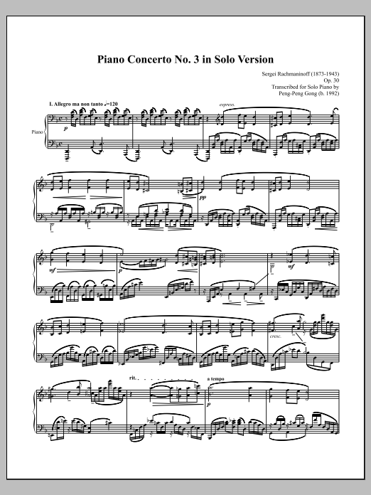 Piano Concerto No. 3 in Solo Version Sheet Music