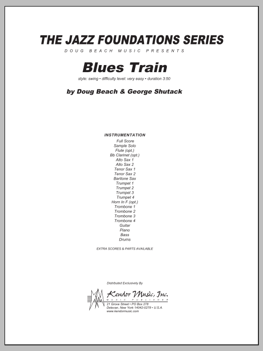 Blues Train (COMPLETE) sheet music for jazz band by Beach, Shutack. Score Image Preview.