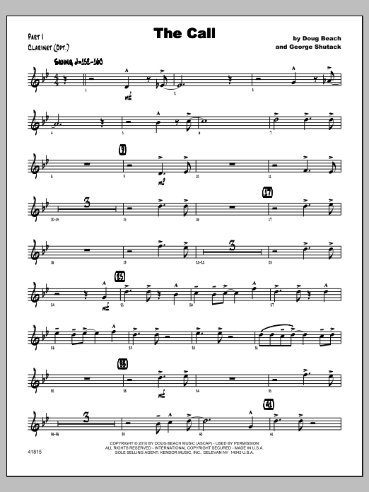 Call, The - Clarinet Sheet Music