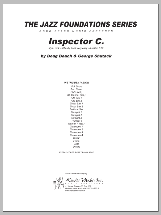 Inspector C. (COMPLETE) sheet music for jazz band by Beach, Shutack. Score Image Preview.