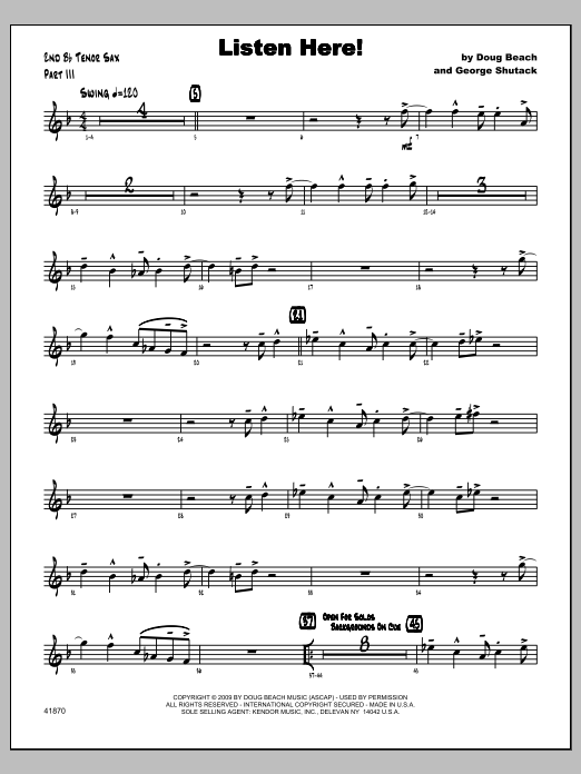 Listen Here! - Tenor Sax 2 Sheet Music