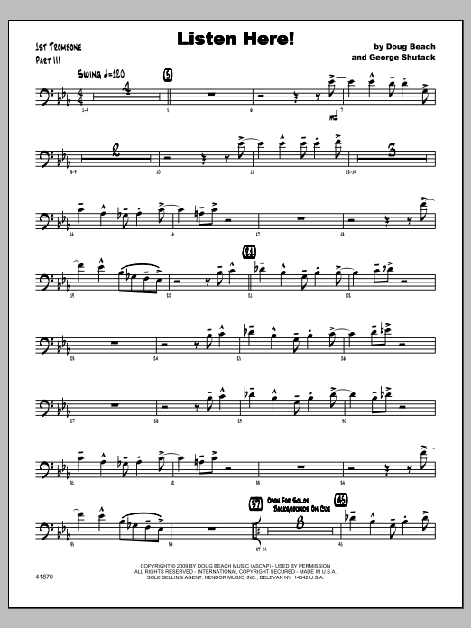 Listen Here! - Trombone 1 Sheet Music