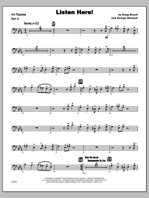 Listen Here! - Trombone 4 Sheet Music
