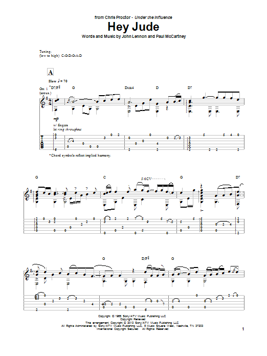 Tablature guitare Hey Jude de The Beatles - Tablature Guitare
