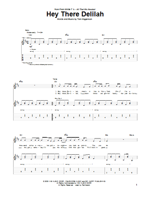 Hey There Delilah | Sheet Music Direct