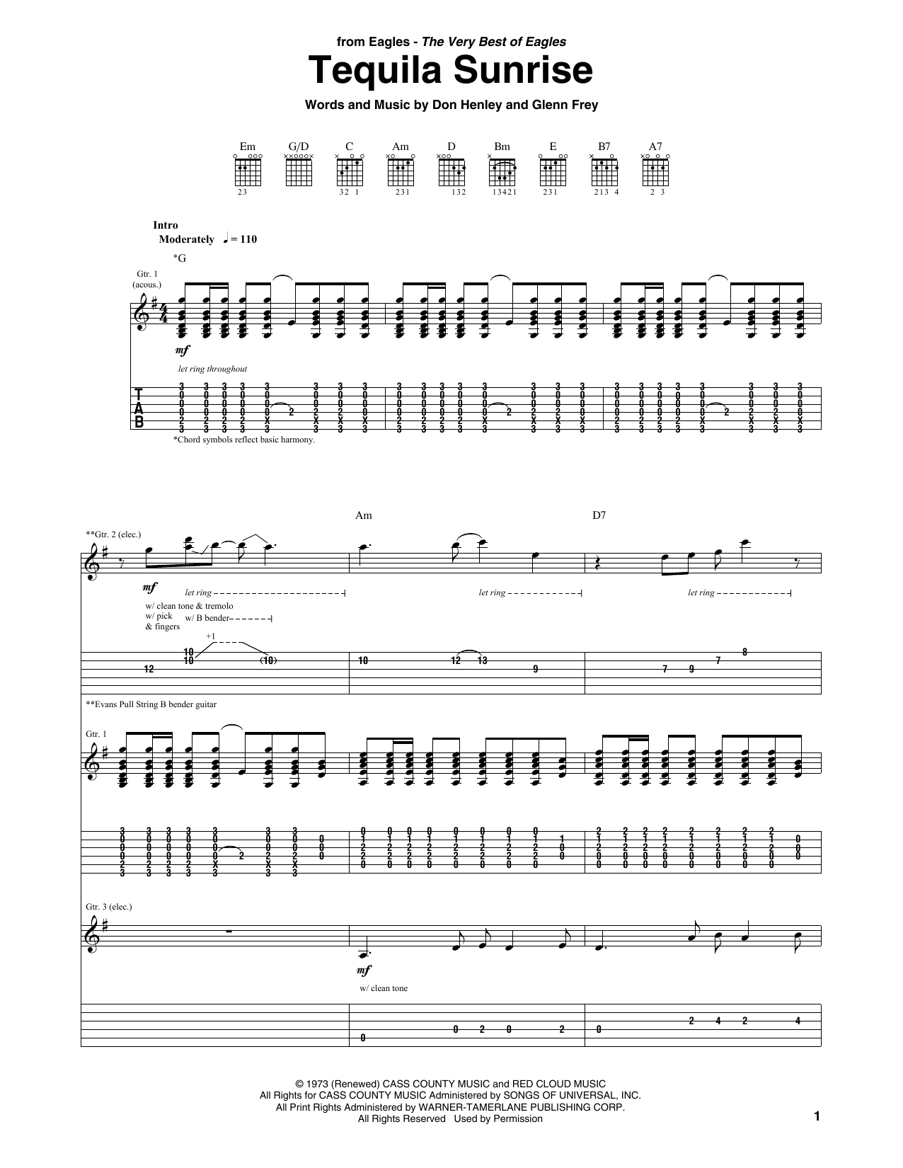 Tablature guitare Tequila Sunrise de Eagles - Tablature Guitare