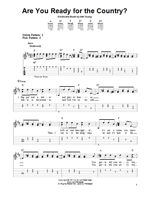 Are You Ready For The Country? (Easy Guitar Tab)
