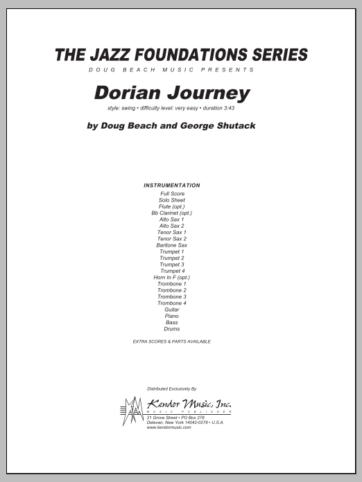 Dorian Journey (COMPLETE) sheet music for jazz band by Beach, Shutack. Score Image Preview.