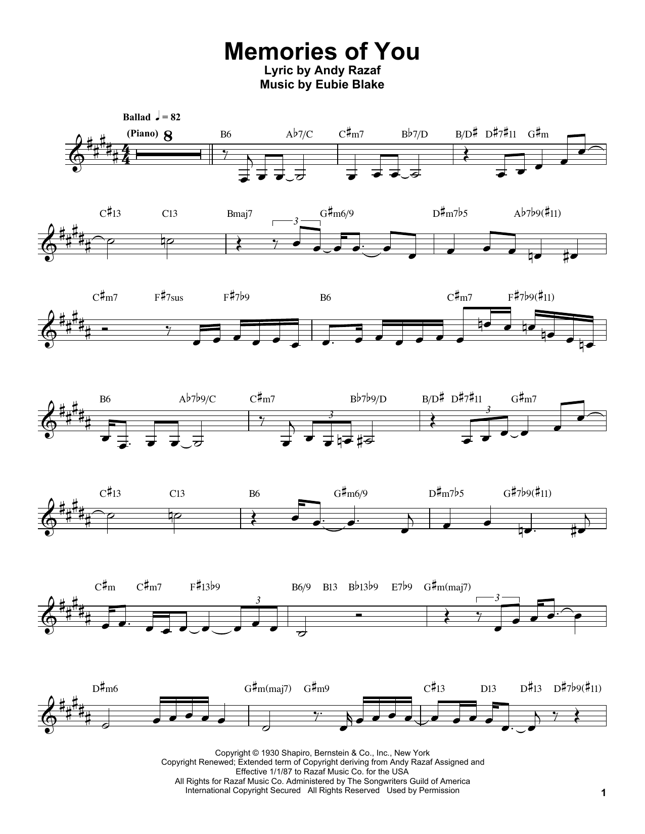 Memories Of You Sheet Music